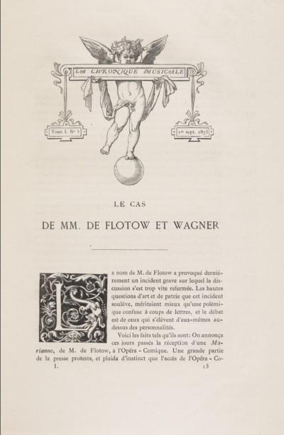 Le cas de MM. de Flotow et Wagner