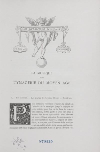 La musique dans l'ymagerie du Moyen Âge