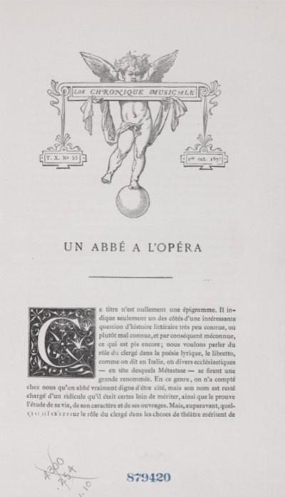 Jaquette Un abbé à l'opéra